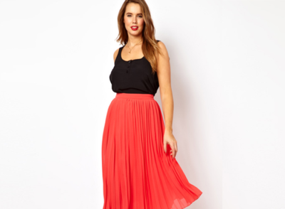what to wear if you have an inverted triangle shape red skirt asos